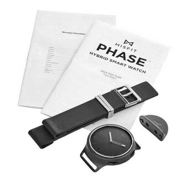 MISFIT  PHASE(フェイズ)スマートウォッチ ブラックアルミ/ブラックレザーストラップ MIS5002(日本正規代理店品モデル)新品