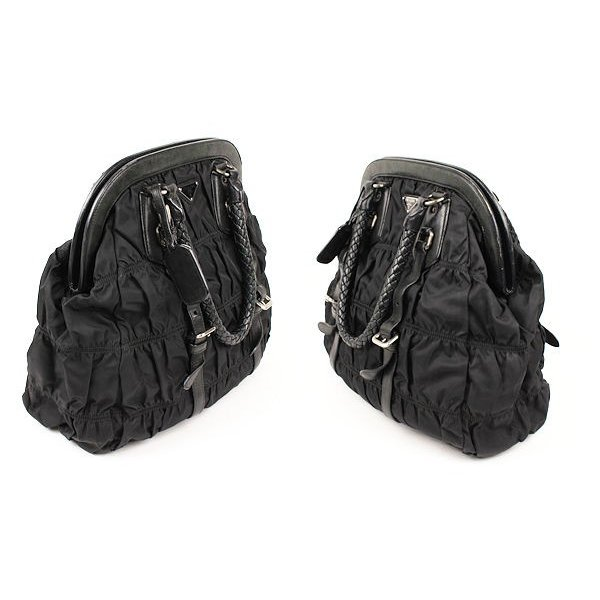 PRADA プラダ ナイロン ギャザー ハンドバッグ 黒 三角プレート 00388
