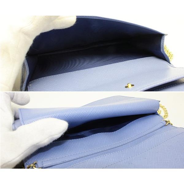 【サルバトーレフェラガモ ヴァラ】チェーンウォレット リボン 長財布 ライトブルー KB-22B850 03142