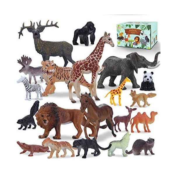Tagitary動物のフィギュアリアル動物20点豪華セット子供飛びつくおもちゃ収納ボックス付き動物遊びトイ森ごっこ室内飾り