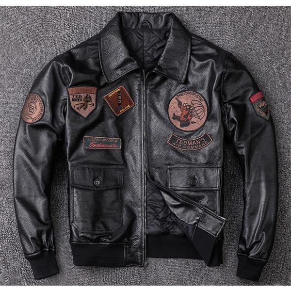 ラム革ジャケット ジャンパー フライトジャケット ワッペン 本革ジャケット 綿入り 厚手 羊革 レザージャケット 革ジャン メンズ セール