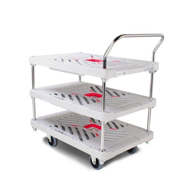 花岡車輌 プラスチック台車 ダンディXシリーズ 3段テーブル サイレントキャスター XA-BT3