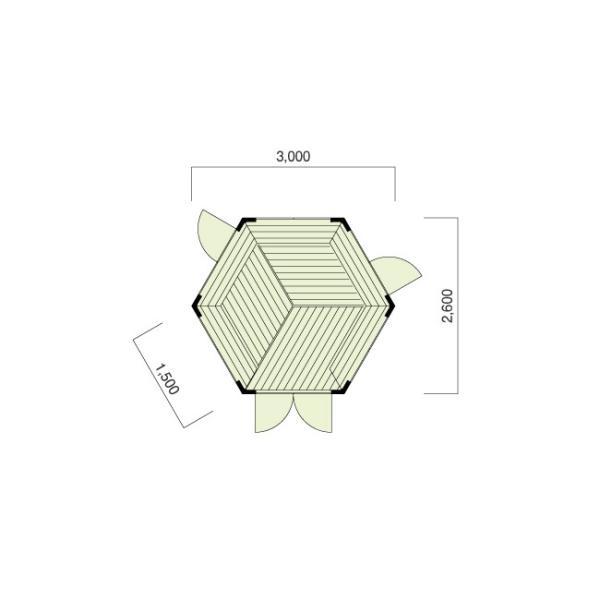 ●ガーデニア(人気の2坪サイズ)ログハウス風東屋、屋内にベンチ付ガゼボの格安なセルフビルド推奨パネルのミニハウスキット。DIYに最適!|tanoclife|02