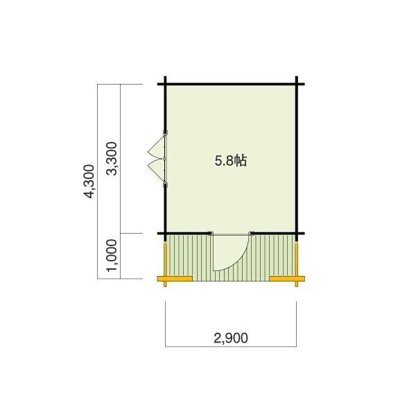 ●コスカA(ログ厚50mm)大屋根とベランダ付の3坪タイプのログハウス、スチール・プレハブにはない木の魅力でDIYに最適な格安ミニログハウスキット|tanoclife|02