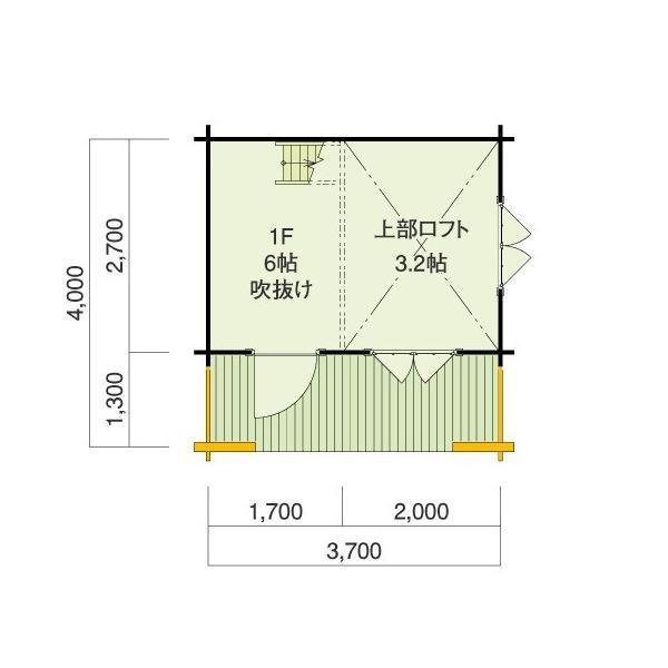 ●シエル(ログ厚75mm)室内空間の大きいロフト付きの4.5坪タイプのログハウス。DIYに最適! tanoclife 02