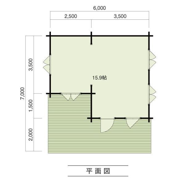 ●ルースA(ログ厚75mm)用途いろいろ、5坪のベランダ付の8坪タイプのミニログハウスキット|tanoclife|02