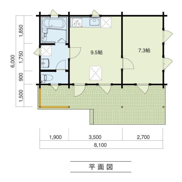 ●ペルト(ログ厚75mm)屋根の掛かった大きなベランダ付、住宅・別荘や離れに最適の約11坪タイプのミニログハウスキット|tanoclife|02