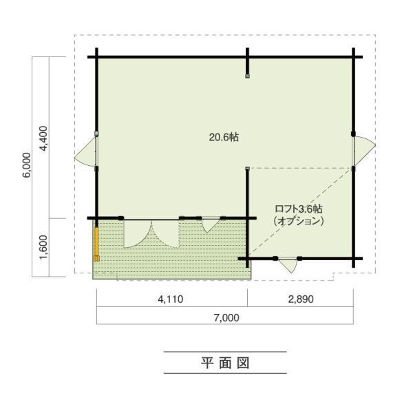 ●オラバ(ログ厚75mm)大開口フレンチドア付、店舗、事務所に最適12坪タイプのミニログハウスキット|tanoclife|02