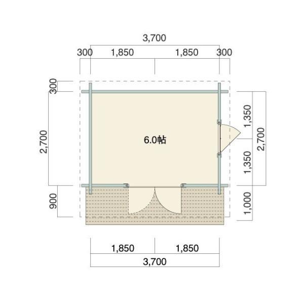 ●ドレミ(ログ厚50mm)物置や離れに最適!スチール・プレハブにはない木の魅力、大開口フレンチドア付 3坪タイプの格安ミニログハウスキット。DIYに最適!|tanoclife|02
