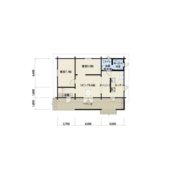 ●レポ(ログ厚113mm)大型マドがついて屋内は明るく広々。ゆったりとくつろげる平屋モデルログハウス|tanoclife|02