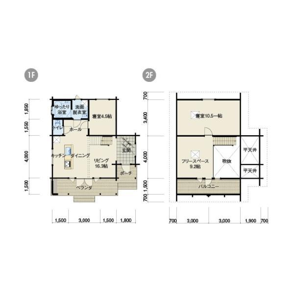 ●サーリ(ログ厚92mm)折れ屋根が印象的なコンパクト3LDKログハウス|tanoclife|02
