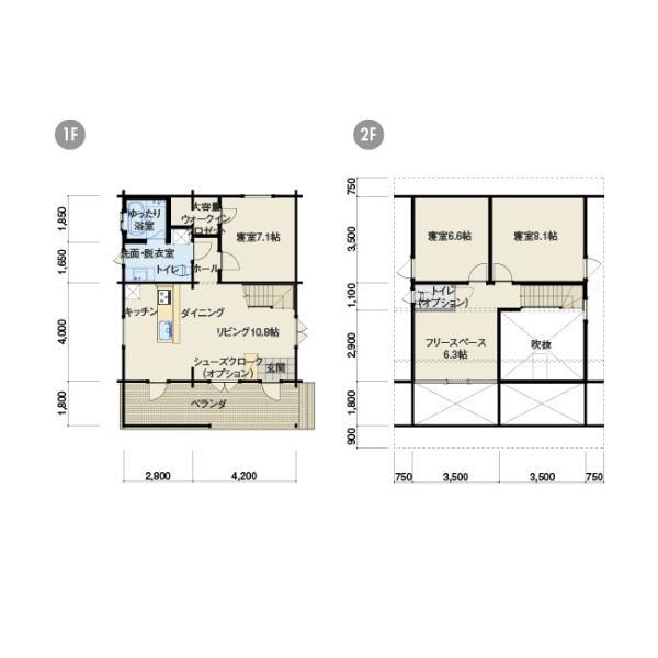 ●マーセウト(ログ厚113mm)ヨーロッパカントリースタイルの3LDKのログハウス|tanoclife|02