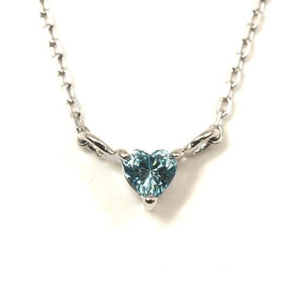 ハートシェイプ ブルーダイヤモンド ペンダントネックレス Pt900/Pt850 0.056ct ファンシー・インテンス・グリーン・ブルー程度 SI程度