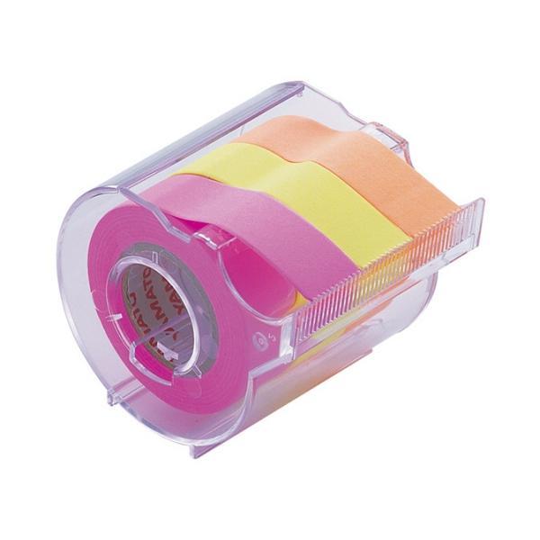 ヤマト メモック ロールテープ 蛍光紙 カッター付 15mm幅 オレンジ&レモン&ローズ RK−15CH−C 1個