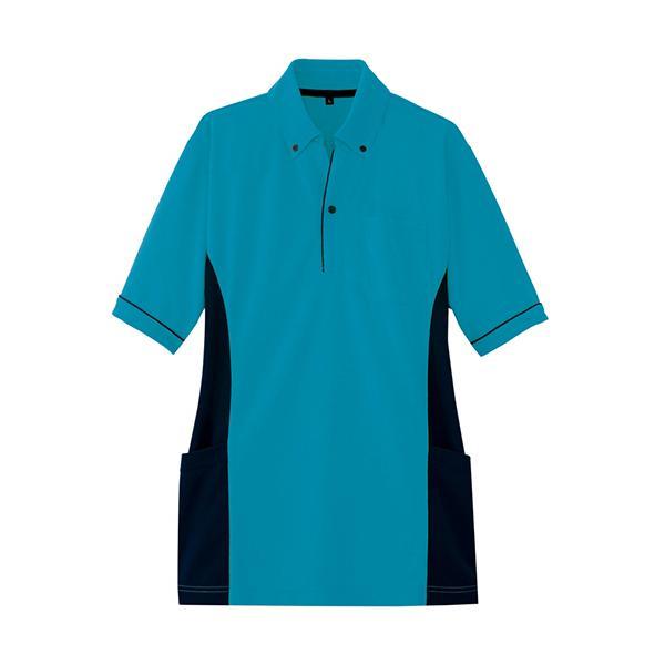 アイトス サイドポケット半袖ポロシャツ(男女兼用) ダンボールニット ターコイズ Sサイズ AZ−7679−027−S 1着 (お取寄せ品)
