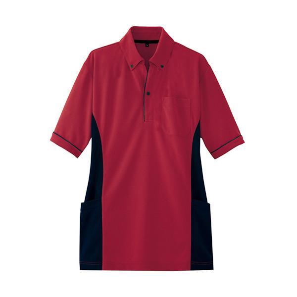アイトス サイドポケット半袖ポロシャツ(男女兼用) ダンボールニット ワイン LLサイズ AZ−7679−039−LL 1着 (お取寄せ品)