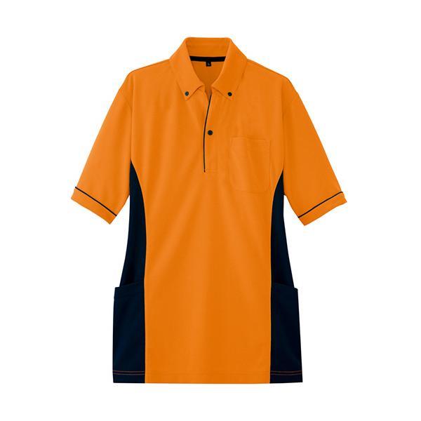 アイトス サイドポケット半袖ポロシャツ(男女兼用) ダンボールニット オレンジ SSサイズ AZ−7679−063−SS 1着 (お取寄せ品)