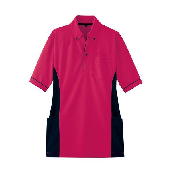 アイトス サイドポケット半袖ポロシャツ(男女兼用) ダンボールニット ローズ 4Lサイズ AZ−7679−139−4L 1着 (お取寄せ品)