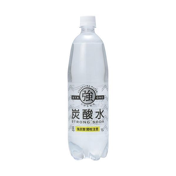 友桝飲料 強炭酸水 1L ペットボトル 1ケース(15本)