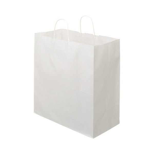 TANOSEE 紙手提袋 丸紐 マチ広・特大 ヨコ430×タテ440×マチ幅210mm 白無地 1セット(300枚:50枚×6パック)
