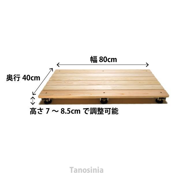 在庫限り特価  ひのき浴室用すのこ (高さ調整機能付)  サイズ/幅80×奥行40×高さ7〜8.5cm お風呂用すのこ