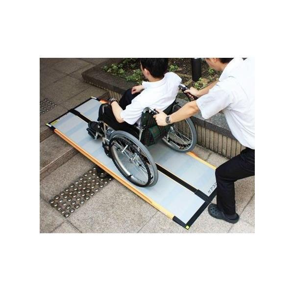 介護用品 車いす用段差解消スロープ ケアスロープ 長さ100cm 車椅子 車いす バリアフリー ポータブル|tanosinia|03