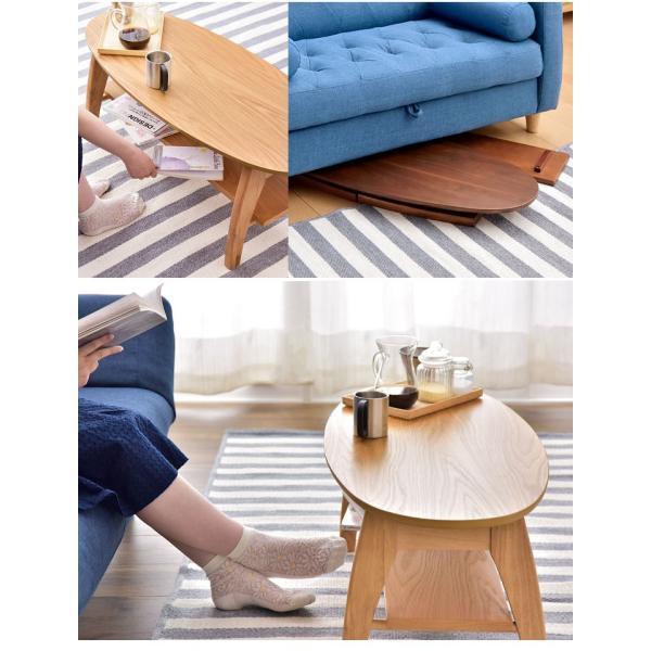 リビングテーブル テーブル ローテーブル 木製 折りたたみテーブル センターテーブル 北欧 おしゃれ 棚付き|tansu|06
