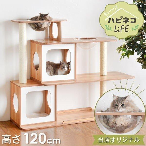キャットタワー木製麻紐爪とぎキャットタワーキャットウォーク猫ねこネコリビングペット猫タワー高さ120cm幅145cm据え置き