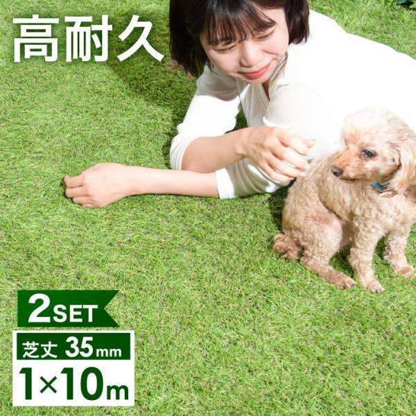 人工芝  ロール リアル人工芝 芝生 2個セット 1m×10m  芝丈35mm 芝生マット|tansu