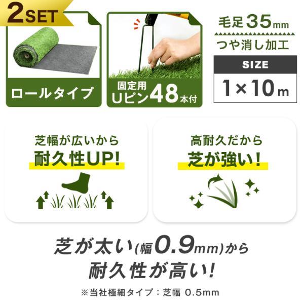 人工芝  ロール リアル人工芝 芝生 2個セット 1m×10m  芝丈35mm 芝生マット|tansu|02