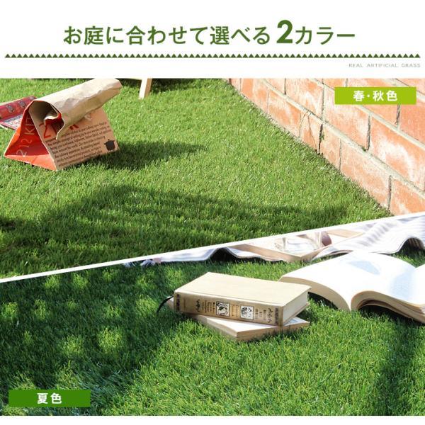 人工芝  ロール リアル人工芝 芝生 2個セット 1m×10m  芝丈35mm 芝生マット|tansu|03