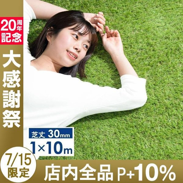 人工芝 ロール リアル人工芝 芝生 1m×10m ロールタイプ U字固定ピン20本入 芝丈30mm おしゃれ|tansu