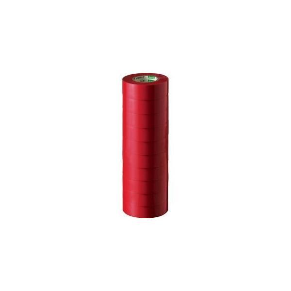 ds-1581075 (まとめ) オカモト ビニールテープ No.470 19mm×10m 赤 No.470-19x10 アカ 1パック(10巻) 【×10セット】 (ds1581075)