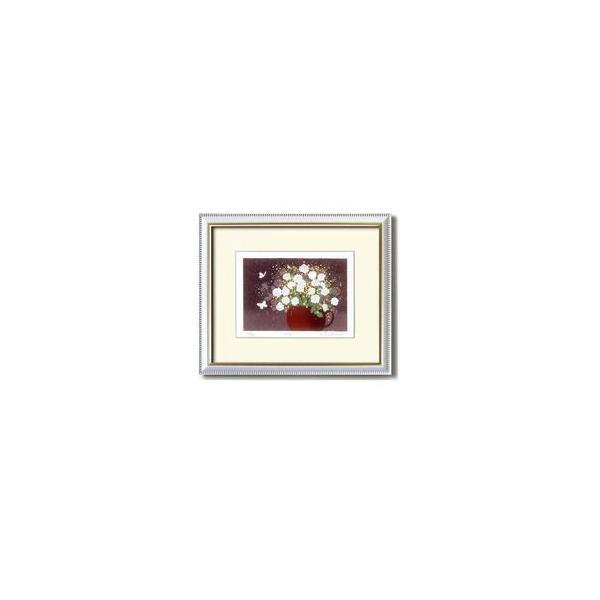 ds-1614664 『花』風水額/シルク版画 【吉岡浩太郎 白い花】 吊りひも付き 日本製 (ds1614664)