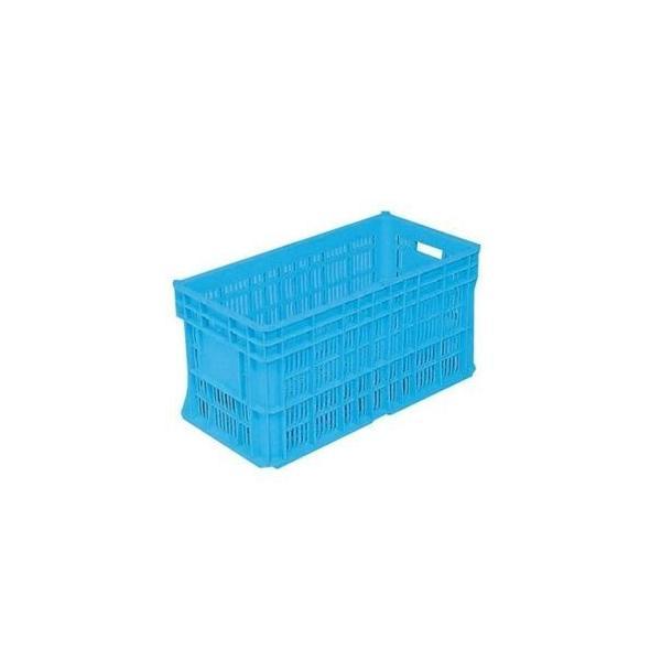 ds-2042339 リステナー/網目コンテナボックス 【MB-60A 穴あり】 ブルー メッシュ構造 〔みかん 果物 野菜等収穫 保管 保存 物流〕【代引不可】