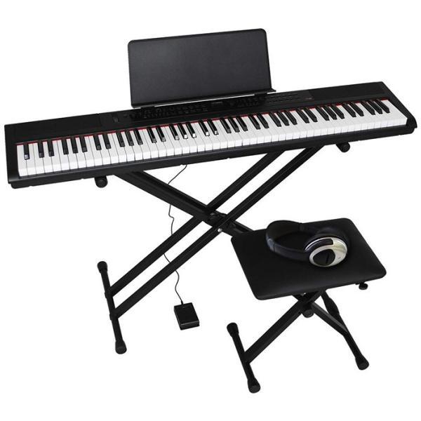 PE-88_BKSET Artesia 電子ピアノ 初心者セット 88鍵 セミウェイトキー PE-88/BK ブラック (サスティンペダル/スタンド/椅子/ヘッドフォン付属)