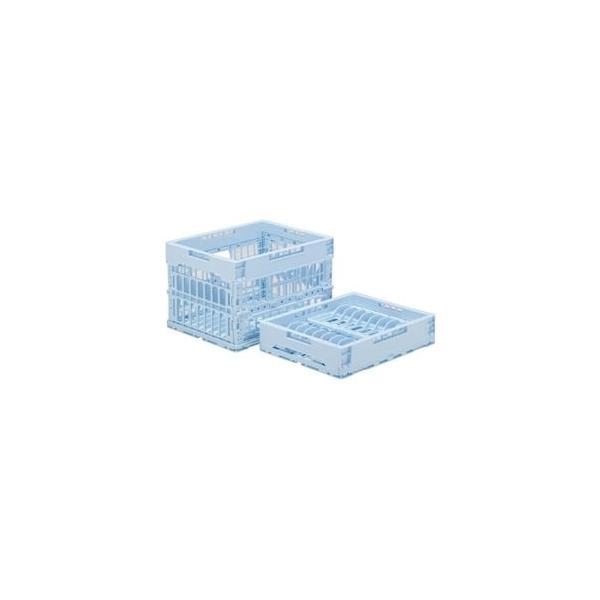 ds-1719122 (まとめ)三甲(サンコー) 折りたたみコンテナボックス(クールオリコン) 蓄冷剤収納仕切り付 P24Z ライトブルー 【×10セット】