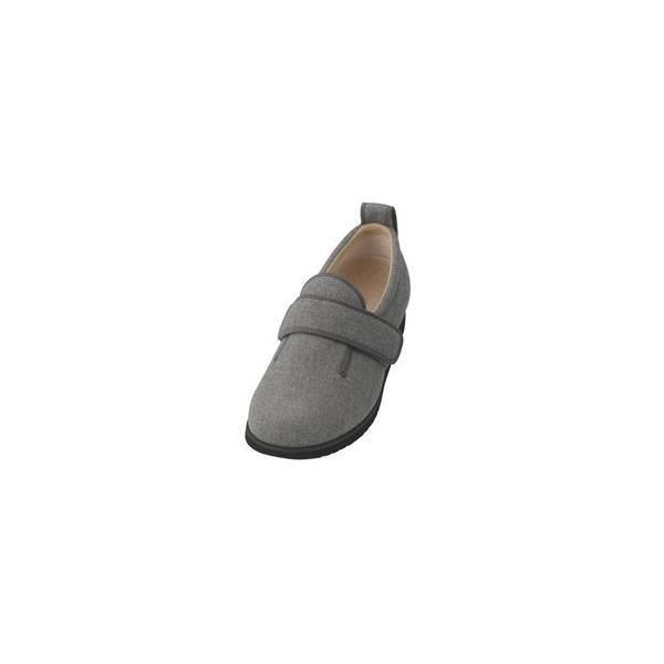 ds-1432558 介護靴 施設・院内用 ダブルマジック2ヘリンボン 9E(ワイドサイズ) 7025 両足 徳武産業 あゆみシリーズ /5L (27.0〜27.5cm) グレー