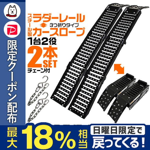 スチールラダー カースロープ スロープ カーランプ 三つ折りタイプ コンパクト 2本セット|tantobazarshop