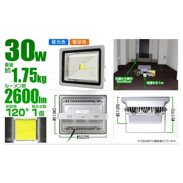LED投光器 30W 電球色 暖色 3000K 省エネ LEDライト 防水 6個セット|tantobazarshop|06
