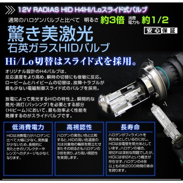 HIDキット H4 12V 35W Hi Lo切り替え HID キット 6000K 8000K 10000K 12000K ケルビン数選択 RADIAS ブランド  極薄型バラスト 1年保証|tantobazarshop|04