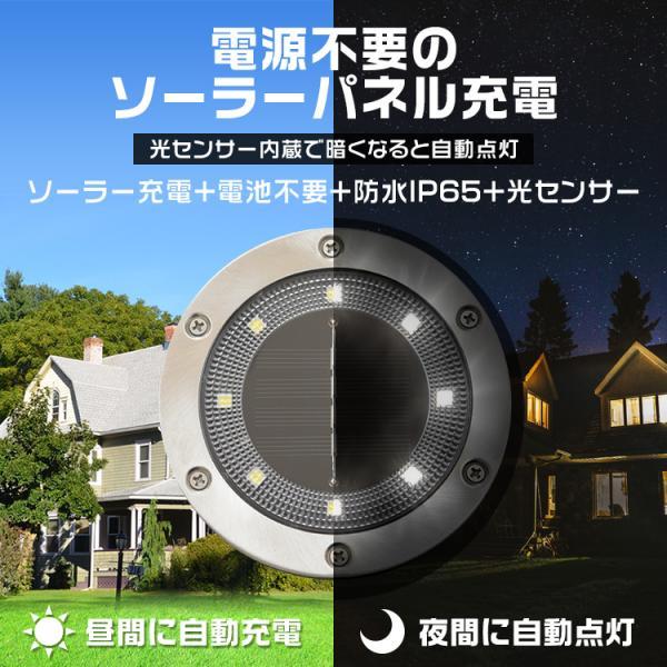 LEDソーラーライト LEDライト 防水 ガーデンライト 屋外 埋込 置き型 2WAY 4個セット 誘導灯 太陽光充電|tantobazarshop|04
