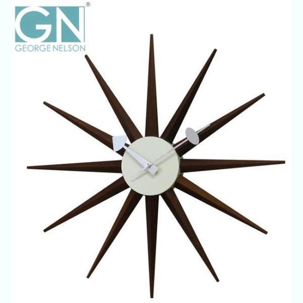 George Nelson ジョージ・ネルソン 壁掛け時計 サンバースト・クロック ウォルナット GN396WB