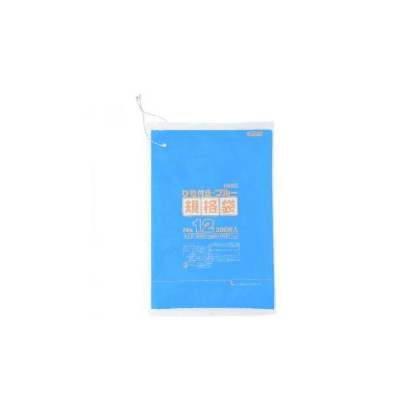 ジャパックス HD規格袋 厚み0.010〜0.012mm No.12 ひも付き 青 200枚×10冊×3箱 HKB12