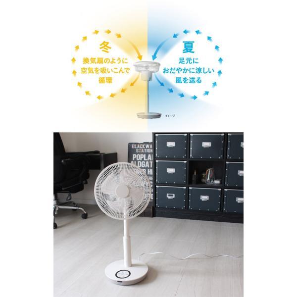 ピエリア 逆回転付きリビングファン 扇風機 逆回転付きで上90度に角度調整ができるので、サーキュレーターとしても使え1年中使える扇風機