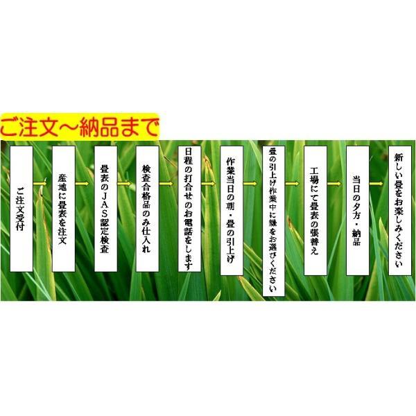 日本農林規格JAS3種1等認定品畳(縦糸:麻糸)縁付き表替え【半畳】|tatamiya3|06