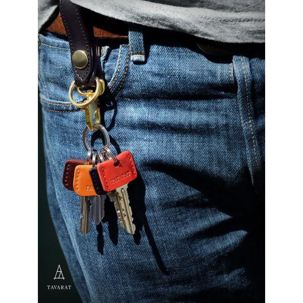 キーカバー 鍵カバー (二重カン付属) 本革 日本製 ポイント消化 姫路産サドルレザー 名入れ 刻印 TAVARAT Tps-022 (ゆうパケット 送料無料)ラッピング無料 tavarat 02
