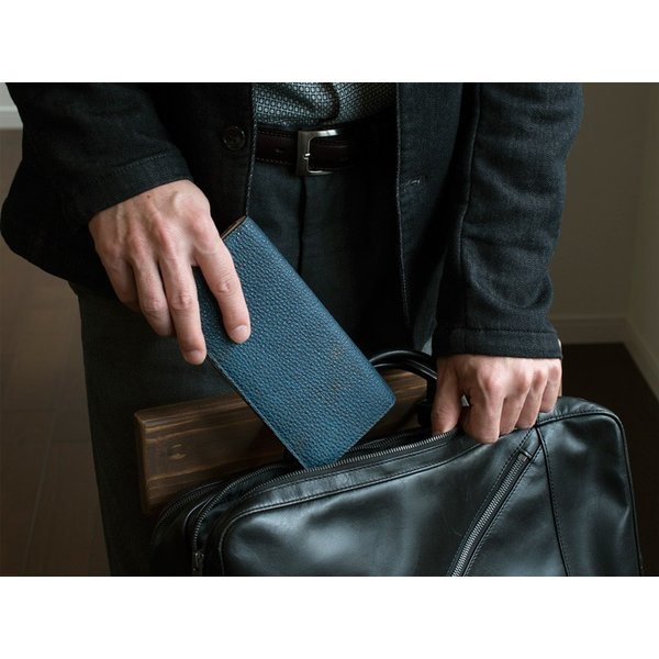 長財布 メンズ 日本製 藍染 黒桟革 極  ネイビー TAVARAT Tps-082 ラッピング無料 父の日|tavarat|16