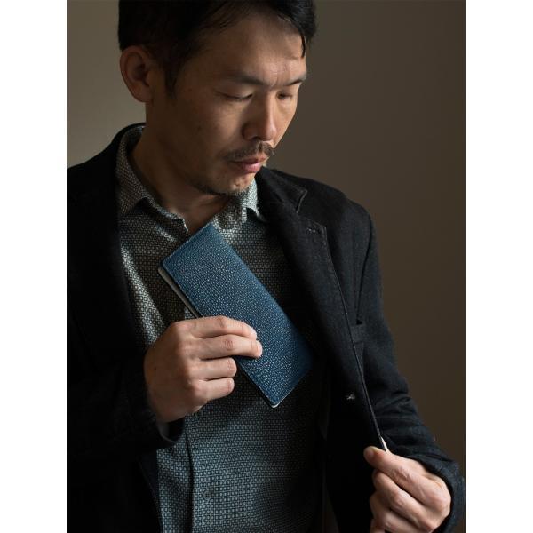 長財布 メンズ 日本製 藍染 黒桟革 極  ネイビー TAVARAT Tps-082 ラッピング無料 父の日|tavarat|17