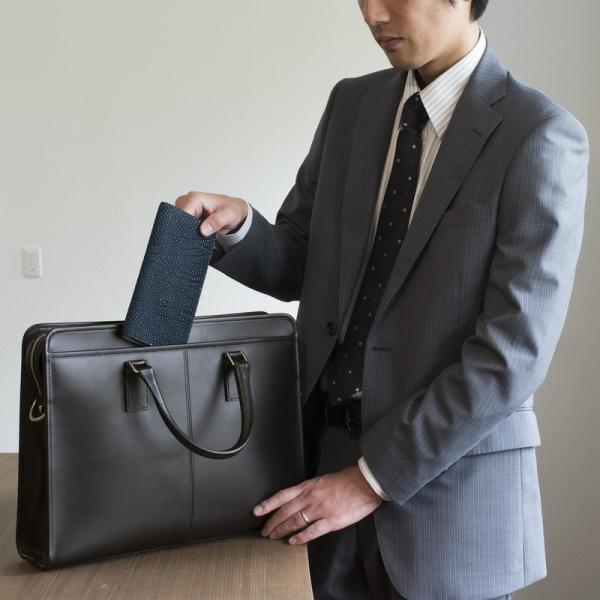 長財布 メンズ 日本製 藍染 黒桟革 極  ネイビー TAVARAT Tps-082 ラッピング無料 父の日|tavarat|04